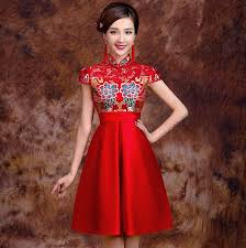 Chinese Wedding Dress Red Lace Floral Brocade Top Empire Waist Chinese Wedding Dress
