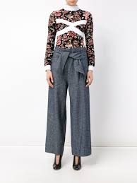 wide tie lyst msgm wide tie belt trousers in gray