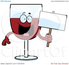 cartoon wine glass cartoon of a happy red wine glass character holding a sign