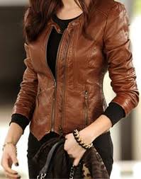light brown leather jacket womens motorcycle style cool solid color vertical zip jacket from