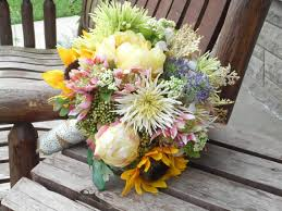 wedding flowers rustic sunflower peonies and flowers rustic wedding bouquet