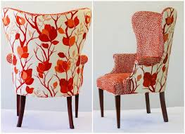 bright colorful accent chairs comfortable in red pattern wing back