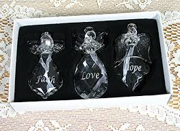 faith ornaments set of 3 glass hanging