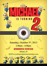 minion birthday invitations with picture tags personalized