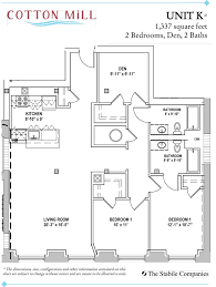 bedroom apartments with den at cotton mill two bath floor plan