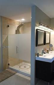 frameless glass shower doors  frosted for privacy or probably a