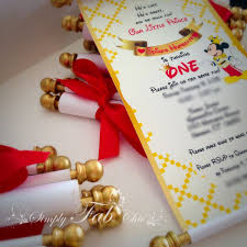 royal prince mickey scroll invitation birthday wedding