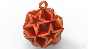 3d printed geometric tree ornament small by