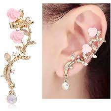 ear cuff earrings cishop pink diamond ear cuff earrings stud style ear