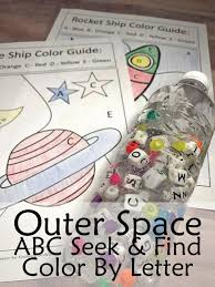 kindergarten worksheets and games outer space abc seek and find