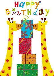 2 for 1 offer happy birthday giraffes greeting card by sabina