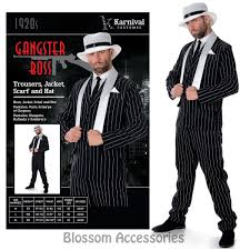 Mens Gangster Halloween Costume Cl980 Mens Gangster Boss 1920 U0027s Gatsby Fancy Dress Party