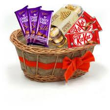 chocolate basket rocher 3 cadbury silk and 3 kitkat chocolate basket