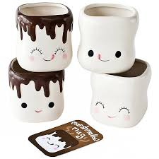 marshmallow smiling faces cocoa mugs chocolate dipped
