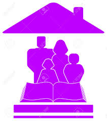 isolated violet icon with family book and house silhouette