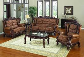 Leather And Fabric Living Room Sets Brown Fabric Sofa Set With Brown Wooden Carving Bases Added By