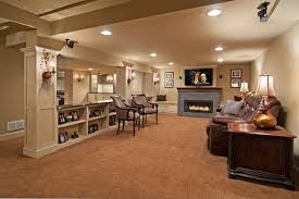 Blue Fireplace With Beige Colored Carpet For Amazing Basement - Family room carpet ideas
