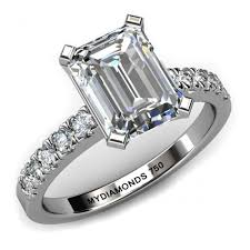 engagement rings emerald cut leda emerald cut engagement ring with shoulder diamonds