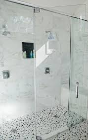 river rock shower floor transitional bathroom