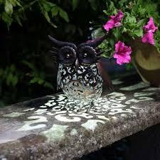 smart garden solar owl bird silhouette light garden led light