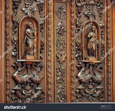 antique wardrobe beautiful wood carvings on stock photo 3391767