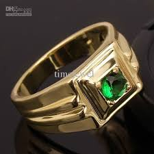 ring for men design design green emerald 18k yellow gold gp men s sterling silver 925