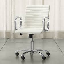 Leather Office Chair Ripple Ivory Leather Office Chair With Chrome Base Reviews Crate