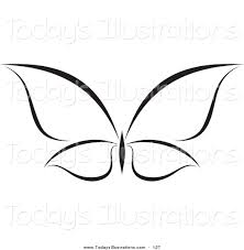 clipart of a minimalist black and white butterfly logo by 127