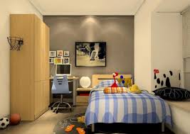 simple interior design for boys bedroom with blue chair and wooden
