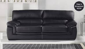 Captivating Black Leather Sofas Zahara Black Leather Sofa - Leather 3 seat sofa