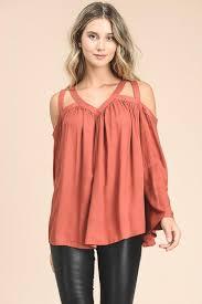 shoulder cut out blouse cut out flowy blouse brick mintl a boutique