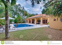 lush landscaped backyard stock photos image 17644583