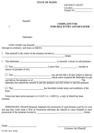sle eviction notice maine maine complaint for forced entry detainer ez landlord forms