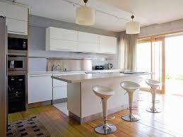 futuristic modern kitchen design ideas brown laminate wood floor