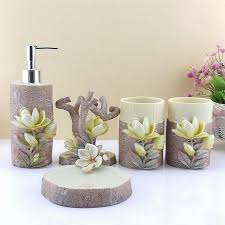 Cheap Bathroom Sets by 5pcs Resin Creative Lily Bathroom Sets Toothbrush Holder Cup