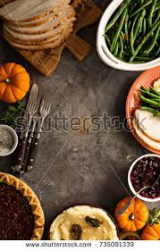 thanksgiving table with turkey thanksgiving table turkey green beans mashed stock photo royalty