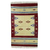 Rug With Stars Geometric Indian Rugs At Novica