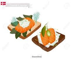 cuisine danemark cuisine danoise illustration de smorrebrod ou de de seigle