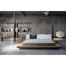 Platform Bed Canada with Worth White Leather Platform Bed In Walnut