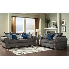 Furniture Of America Ivy Grey Blue Modern Piece SofaLove Set By - Gray living room furniture sets