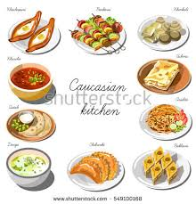 collection cuisine caucasian cuisine set collection food dishes stock vector