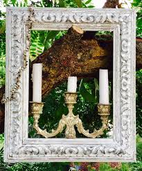 shabby chic white and silver frame with candlestick attached