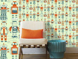 kids bedroom tin man robot cartoon wallpaper kid bedroom