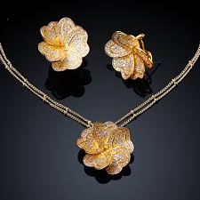 set of gold flower necklace and earrings sets gold filled jewelry set jewelry