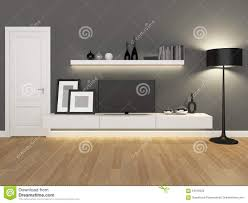 grey living room with tv stand and bookcase stock photo image