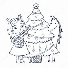 decorates the christmas tree outline u2014 stock vector