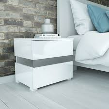 Ikea White Bedroom Side Tables Side Table Ice High Gloss White Bedside Tables Rh Or Lh Birlea