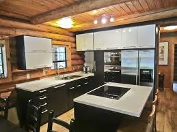 log home kitchen ideas kitchen room black wooden kitchen cabi and island with white