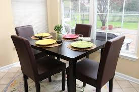 amazon com 5 pc espresso leather brown 4 person table and chairs