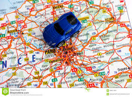 Map Paris France by Road Map Of France With Car Stock Photo Image 58941306